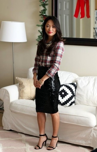 How to wear: white and red plaid dress shirt, black sequin pencil skirt, black leather heeled sandals, gold necklace
