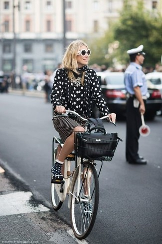 How to wear: black and white polka dot chiffon dress shirt, black and white polka dot pencil skirt, black leather satchel bag, black and white polka dot scarf
