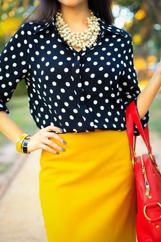 How to Wear a Navy Polka Dot Chiffon Dress Shirt (4 looks ...