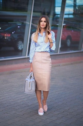 How to wear: white and blue vertical striped dress shirt, pink leather pencil skirt, pink leather slip-on sneakers, light blue leather satchel bag