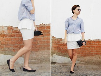 A Baby Blue Oxford Shirt And White Peplum Skirt Are Appropriate For Both Smart Casual