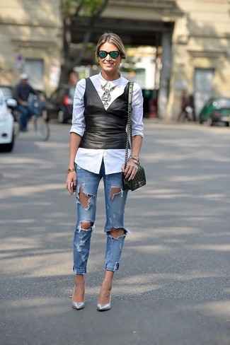 How to wear: white dress shirt, black leather peplum top, blue ripped skinny jeans, silver leather pumps