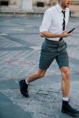 How to wear: white dress shirt, charcoal shorts, black leather casual boots, black tie