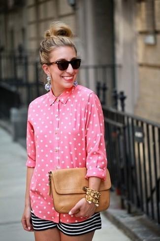 Women's Pink Polka Dot Dress Shirt, Black and White Horizontal Striped Shorts, Tan Leather Clutch, Dark Brown Sunglasses