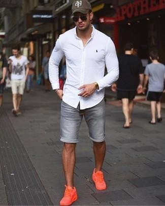 How to wear: white dress shirt, grey denim shorts, orange low top sneakers, olive print baseball cap