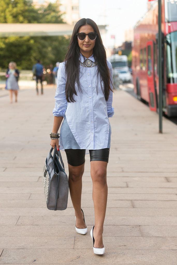 Women's Light Blue Dress Shirt, Black Leather Shorts, White ...
