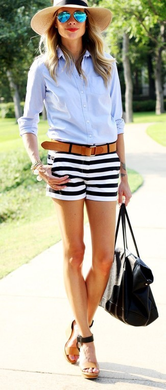 Make a light blue dress shirt and Lucy Paris Striped High Waisted Shorts your outfit choice for a refined yet off-duty ensemble. A good pair of tan leather wedge sandals are sure to leave the kind of impression you want to give. This ensemble is everything for hot days.