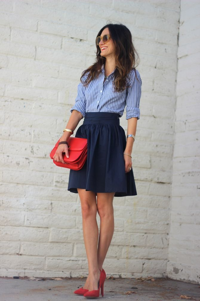 Womenu0026#39;s White and Blue Vertical Striped Dress Shirt Navy Skater Skirt Red Suede Pumps Red ...