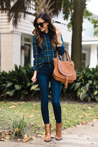 How to wear: navy plaid dress shirt, navy skinny jeans, tan leather ankle boots, tan leather satchel bag