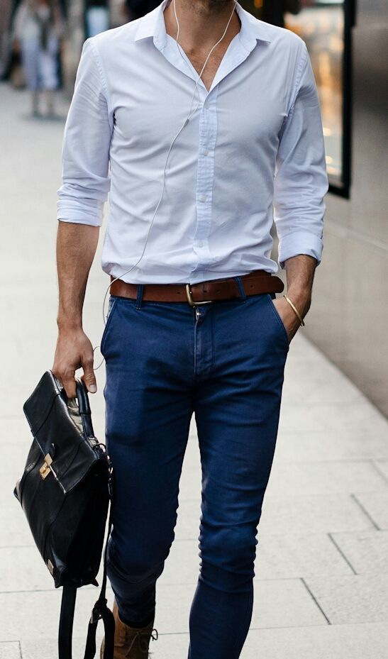Men S Light Blue Dress Shirt Navy Skinny Jeans Brown Leather Casual Boots Black Briefcase Fashion