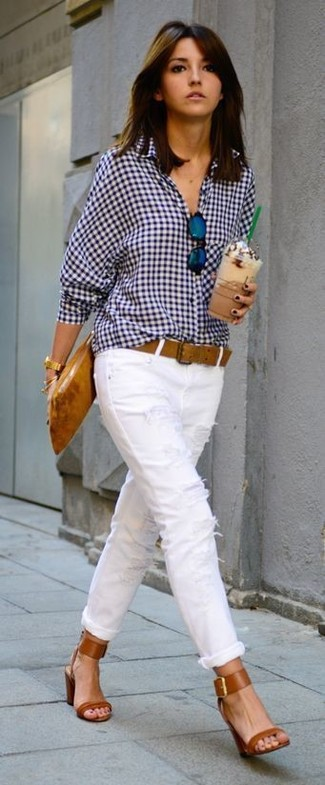 How to wear: white and navy gingham dress shirt, white ripped skinny jeans, tobacco leather heeled sandals, tobacco leather clutch