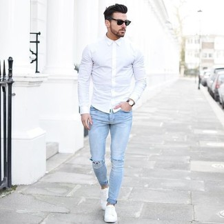 Men's White Dress Shirt, Light Blue Ripped Skinny Jeans, White Plimsolls, Black Sunglasses