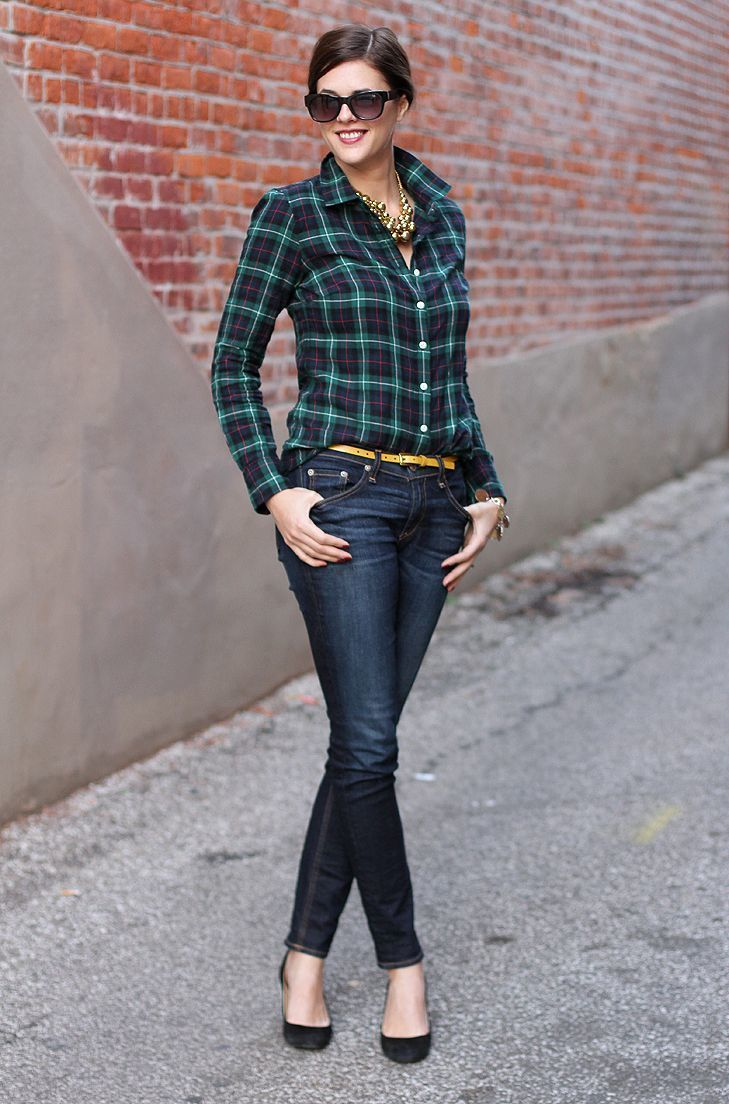 Women's Navy and Green Plaid Dress Shirt, Navy Skinny Jeans, Black ...