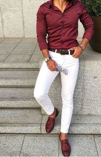 How to wear: burgundy dress shirt, white skinny jeans, burgundy leather tassel loafers, dark brown woven leather belt