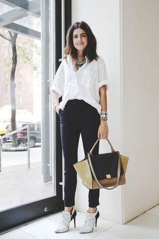 How to wear: white dress shirt, black skinny pants, white and black leather ankle boots, tan suede satchel bag