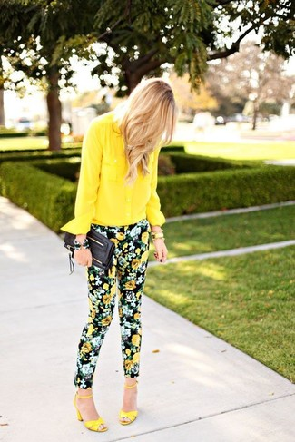 How to wear: yellow chiffon dress shirt, black floral skinny pants, yellow leather heeled sandals, black leather clutch