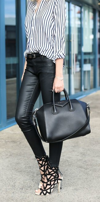 1919 Amelia Black Leather Tote Bag