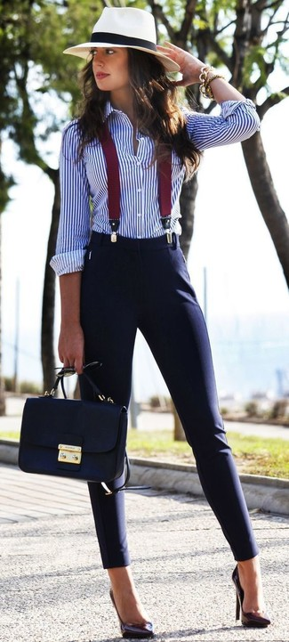 A smart casual combination of a white and blue vertical striped button-front shirt and navy slim pants can maintain its relevance in many different circumstances. Dark purple leather pumps are a nice choice to complete the look.