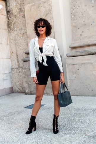 Women's White Dress Shirt, Black Tank, Black Bike Shorts, Black Suede Ankle Boots