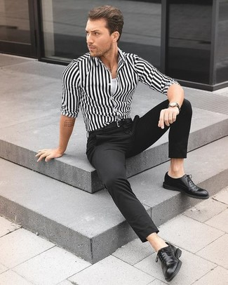 How to wear: white and black vertical striped dress shirt, white tank, black dress pants, black leather oxford shoes