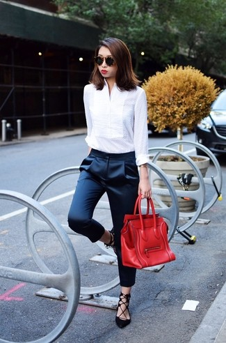 Women's White Dress Shirt, Navy Silk Tapered Pants, Black Suede Gladiator Sandals, Red Leather Satchel Bag