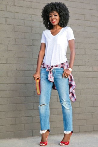 How to wear: white and red plaid dress shirt, white v-neck t-shirt, light blue ripped boyfriend jeans, red leather heeled sandals