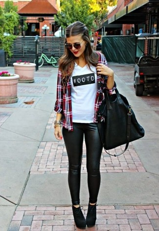 Women's Red Plaid Dress Shirt, White and Black Print V-neck T-shirt, Black Leather Leggings, Black Suede Ankle Boots
