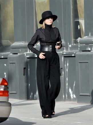 How to wear: black dress shirt, black wide leg pants, black suede heeled sandals, black wool hat