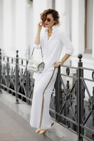 How to wear: white dress shirt, white wide leg pants, gold leather mules, silver leather crossbody bag