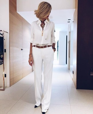 How to wear: white chiffon dress shirt, white wide leg pants, white and black leather pumps, brown leather belt