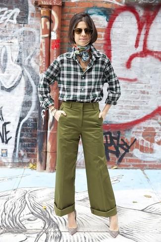 How to wear: dark green plaid dress shirt, olive wide leg pants, grey embellished suede pumps, mint print silk scarf