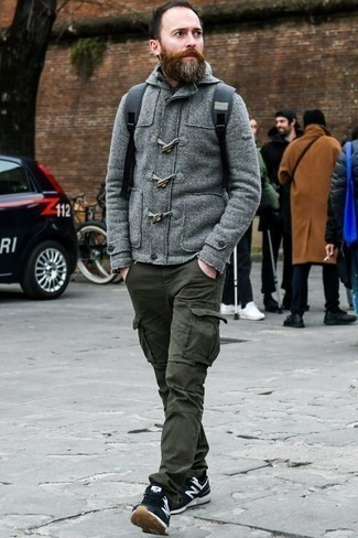 How to Wear Black Socks After 40 For Men: This pairing of a grey duffle cardigan and black socks speaks casual cool and stylish comfort. Add black and white athletic shoes to the equation and you're all set looking killer.