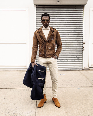 How to wear: navy duffle coat, brown suede biker jacket, beige turtleneck, beige chinos