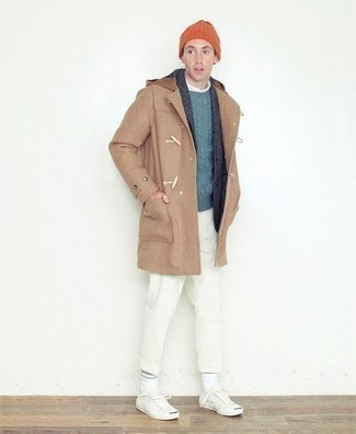 Beanie Outfits For Men: Stay stylish and comfortable on lazy days in a camel duffle coat and a beanie. And if you need to instantly up the style ante of this ensemble with a pair of shoes, add a pair of white canvas low top sneakers to the equation.