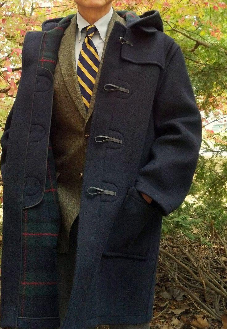 Men's Navy Duffle Coat, Olive Wool Blazer, Grey Dress Shirt, Olive ...