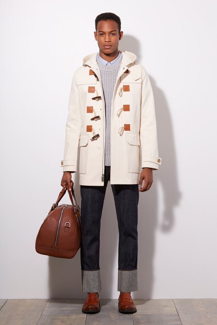 Men's White Duffle Coat, Grey Cable Sweater, Light Blue Dress ...