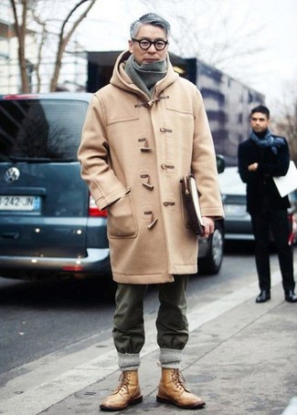 Try pairing a camel duffle coat with a charcoal knit scarf if you're going for a neat, stylish look. Break up your getup with more casual shoes, such as this pair of tan leather casual boots. This one is a good pick if you're picking out a well-coordinated getup for unpredictable fall weather.