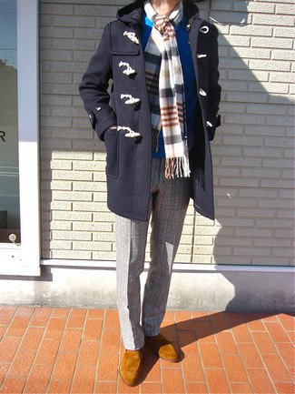 Duffle Coat Outfits For Men: This pairing of a duffle coat and grey plaid chinos looks awesome, but it's also super easy to wear. A nice pair of tobacco suede loafers is a simple way to transform this ensemble.