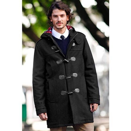 Men's Black Duffle Coat, Navy Crew-neck Sweater, White Dress Shirt ...