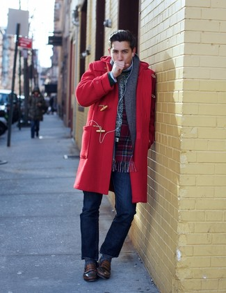 How to wear: red duffle coat, white crew-neck sweater, navy jeans, brown leather loafers