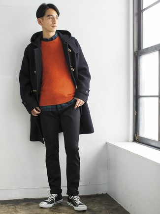 How to Wear a Black Duffle Coat For Men: A black duffle coat and charcoal chinos are good for both smart situations and daily wear. Unimpressed with this outfit? Let black and white canvas low top sneakers switch things up.