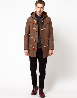 How to Wear a Brown Duffle Coat (7 looks) | Men's Fashion