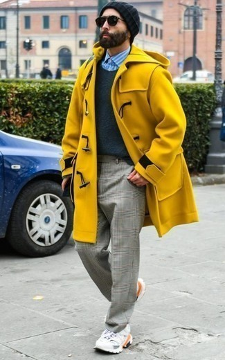 Mustard Duffle Coat Outfits For Men: This pairing of a mustard duffle coat and grey plaid chinos will add effortlessly sleek essence to your outfit. For something more on the daring side to complete this look, introduce a pair of white athletic shoes to your ensemble.