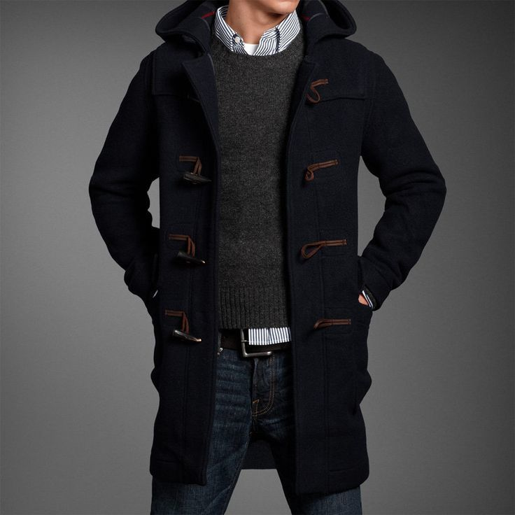 Men&39s Navy Duffle Coat Charcoal Crew-neck Sweater White and Navy