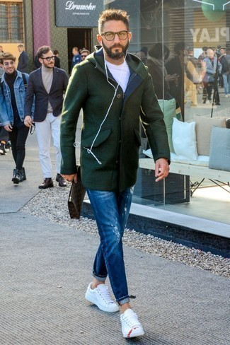 How to Wear White and Red Leather Low Top Sneakers For Men: This pairing of a dark green duffle coat and blue ripped jeans is the ultimate relaxed casual style for any modern guy. Our favorite of a great number of ways to round off this outfit is with a pair of white and red leather low top sneakers.