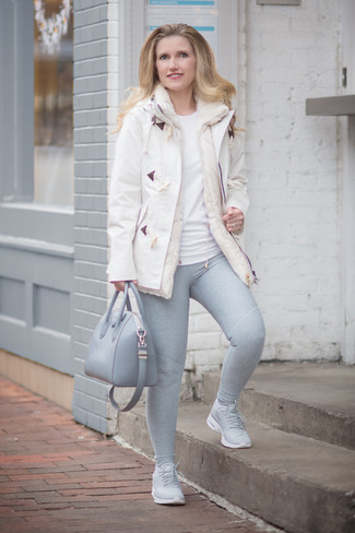 If you're all about comfort dressing when it comes to fashion, you'll love this cute combination of a duffel coat and grey leggings. Grey athletic shoes are the right shoes here to get you noticed. This one will play especially well when warmer days are here.