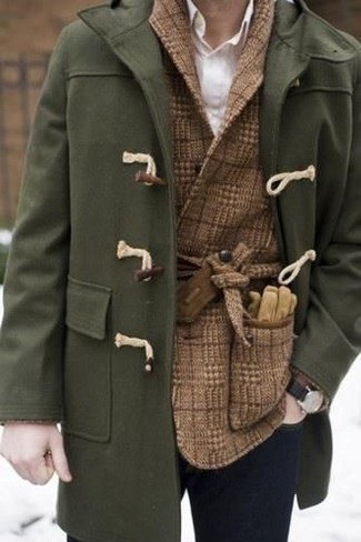 How to wear: olive duffle coat, brown check wool double breasted blazer, white dress shirt, navy skinny jeans