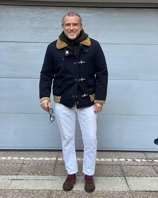 How to Wear Purple Socks For Men: If you like casual combos, then you'll love this combo of a navy duffle coat and purple socks. If you want to easily step up your getup with one item, complement your ensemble with a pair of dark brown suede loafers.