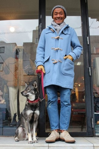 How to wear: light blue duffle coat, blue jeans, beige suede desert boots, grey beanie