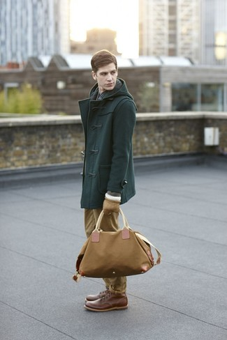 How to wear: dark green duffle coat, navy check long sleeve shirt, khaki chinos, brown leather casual boots